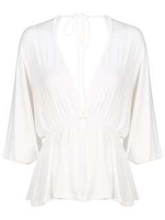 Plunge Neck Dolman Sleeve Shirred Blouse - White Xl