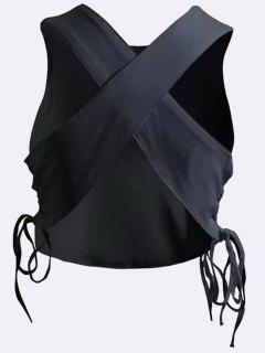 Cross Criss Lace Up Tank Top - Negro M