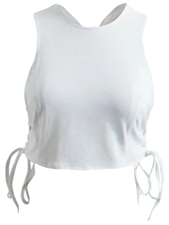 Criss Cross Lace Up Tank Top - White S