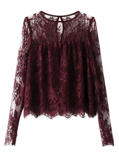 Scalloped See-Through Lace Blouse - Purplish Red S