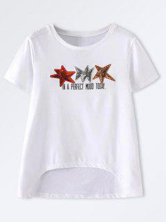Star Patched High Low T-Shirt - White M