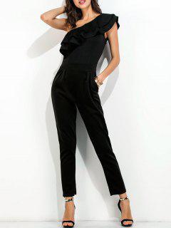 Ruffle One Shoulder Jumpsuit - Black S