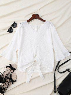 V Neck Front Knot Flare Sleeve Blouse - White L