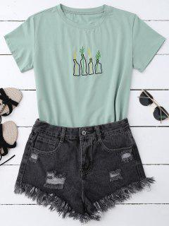 Plant Embroidered T-Shirt - Pea Green
