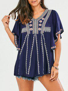 Embroidered Batwing Sleeve Tunic Top - Purplish Blue