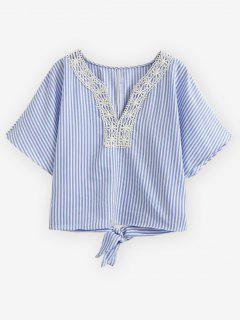 Striped Lace Trim Blouse - Light Blue M