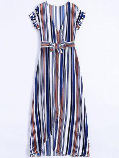 Maxi Vestido A Rayas Con Escote De Plegado Oblicuo Con Abertura Lateral Alta - Azul M