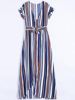 Stripe High Slit Surplice Maxi Dress - Blue Xl
