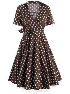 Plus Size A Line Polka Dot Casual Dress - Coffee Xl