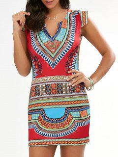 Bodycon Cap Sleeve African Tribal Dress - Red S