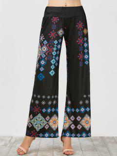 Elastic Waist Wide Leg High Waisted Pants - Black L