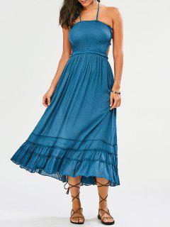 Halter Smocked Open Back Maxi Holiday Dress - Light Blue L