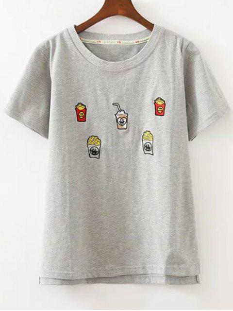Nettes Besticktes T-Shirt - Grau Eine Größe Mobile