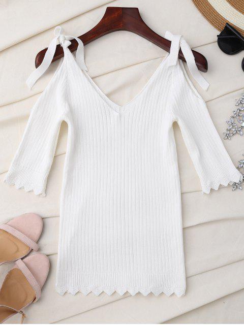 Top tricoté à l'épaule froide festonnée - Blanc TAILLE MOYENNE Mobile