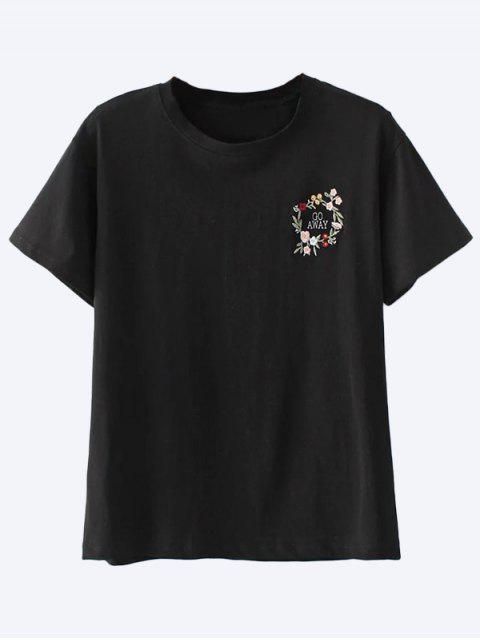 shop Cotton Embroidered T-Shirt - BLACK S Mobile