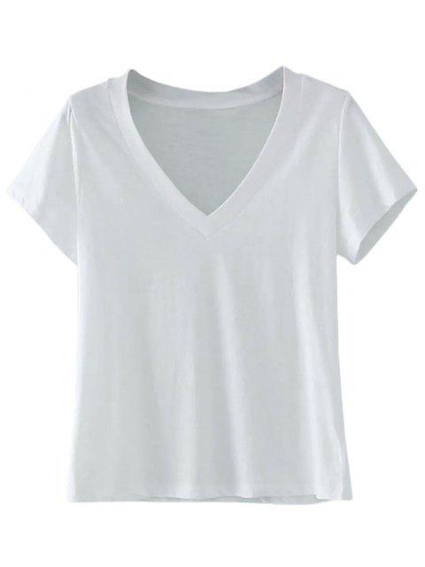 fancy Cotton V Neck T-Shirt - WHITE ONE SIZE Mobile