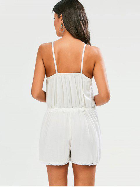 shops Embroidered Spaghetti Straps Romper - WHITE M Mobile