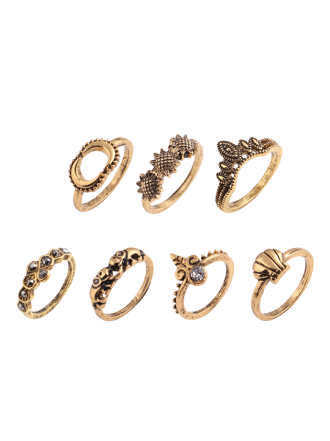 fancy Elephant Sun Floral Moon Ring Set - GOLDEN  Mobile