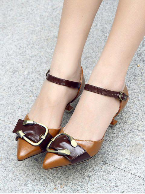 outfits Two Piece Buckle Strap Strange Style Pumps - BROWN 38 Mobile