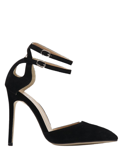 fancy Double Buckle Strap Two Piece Pumps - BLACK 39 Mobile