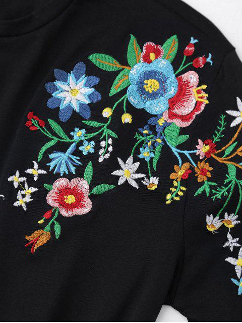 lady Floral Embroidered Short Sleeve T-Shirt - BLACK M Mobile