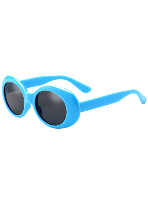 fashion Oval Retro Anti UV Windbreak Sunglasses - BLUE  Mobile