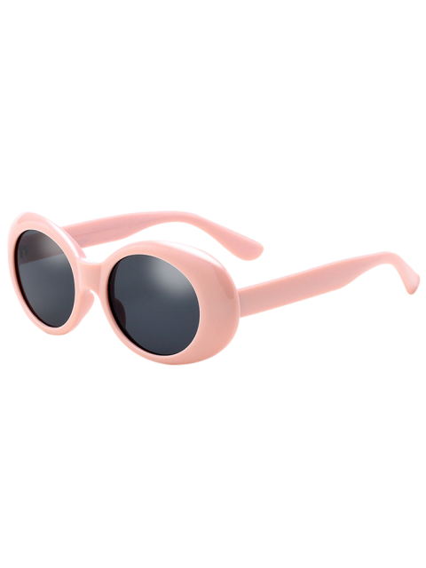 latest Oval Retro Anti UV Windbreak Sunglasses - PINK  Mobile