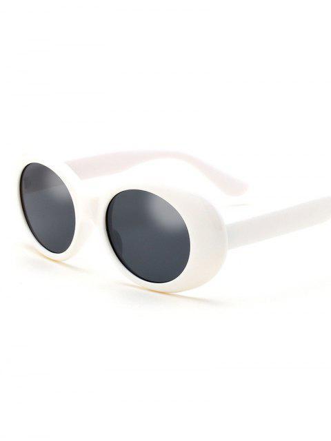 shop Oval Retro Anti UV Windbreak Sunglasses - WHITE  Mobile