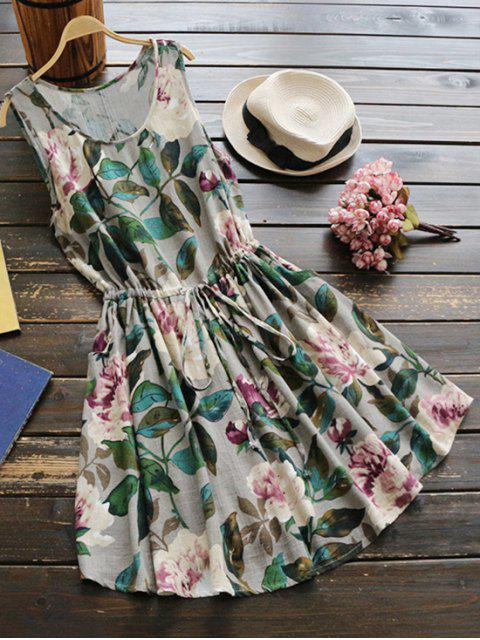 buy Sleeveless Drawstring Waist Floral Linen Dress - GREEN ONE SIZE Mobile