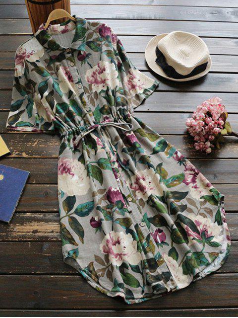womens Button Up Floral Drawstring Waist Linen Dress - GREEN ONE SIZE Mobile