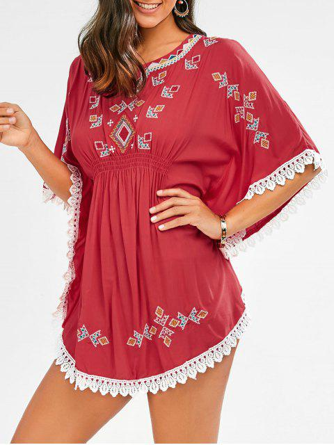 shop Embroidered Lace Batwing Sleeve Dress - RED ONE SIZE Mobile