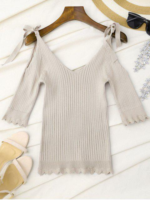 best Scalloped Cold Shoulder Knitted Top - APRICOT ONE SIZE Mobile