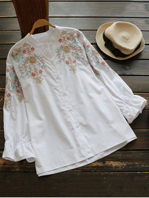 shop Oversized Embroidered Puff Sleeve Shirt - WHITE S Mobile