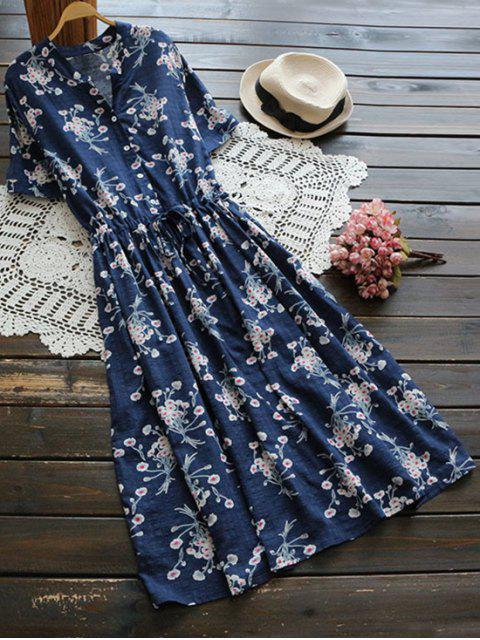 womens Flower Buttoned Drawstring Waist Shirt Dress - BLUE ONE SIZE Mobile