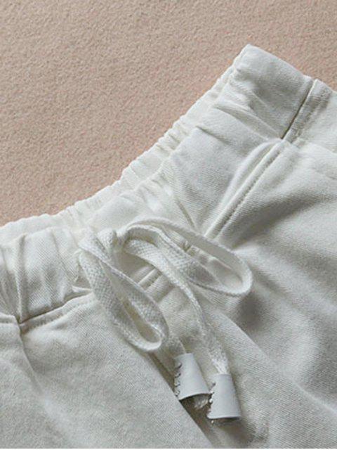 affordable Elastic Drawstring Waist Denim Hot Shorts - WHITE ONE SIZE Mobile