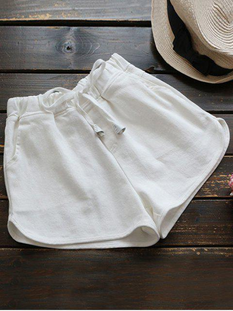 affordable Elastic Drawstring Waist Denim Hot Shorts - WHITE ONE SIZE Mobile