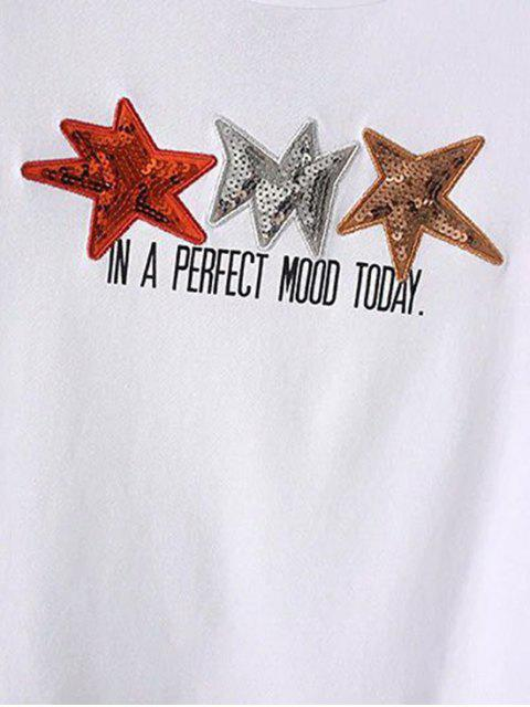 online Star Patched High Low T-Shirt - WHITE L Mobile