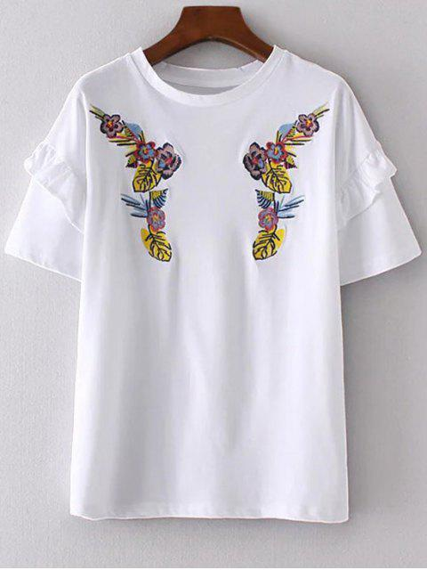 online Ruffles Embroidered T-Shirt - WHITE S Mobile
