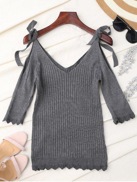 women Scalloped Cold Shoulder Knitted Top - GRAY ONE SIZE Mobile