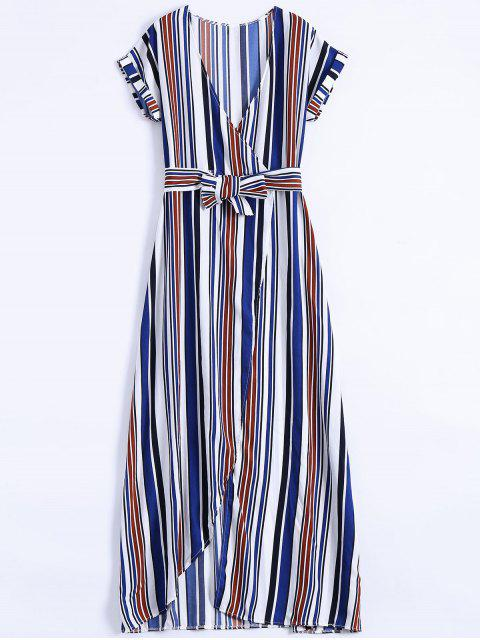 best Stripe High Slit Surplice Maxi Dress - BLUE L Mobile