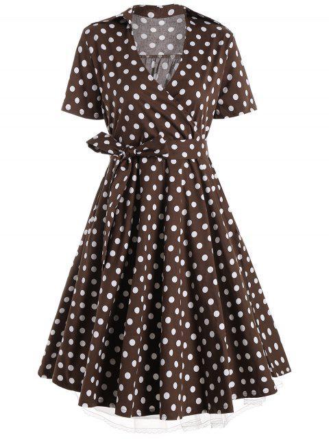 Vestido de Polka Dot Casual - Café 5XL Mobile