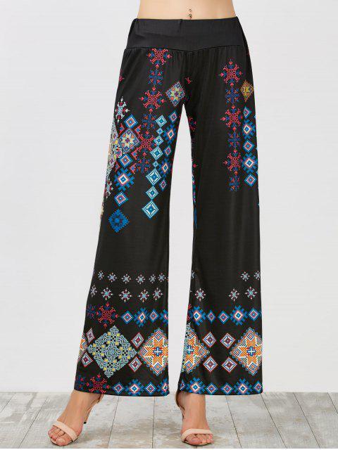 Pantalon à Taille Haute Ceinture Élastique à Jambe Large - Noir L Mobile