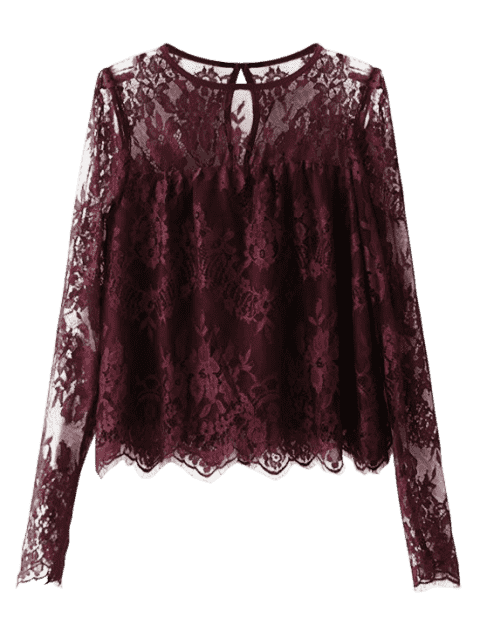 Gezackte See-Through Lace Bluse - Magenta S Mobile