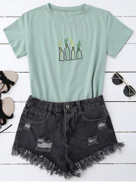 women's Plant Embroidered T-Shirt - PEA GREEN ONE SIZE Mobile