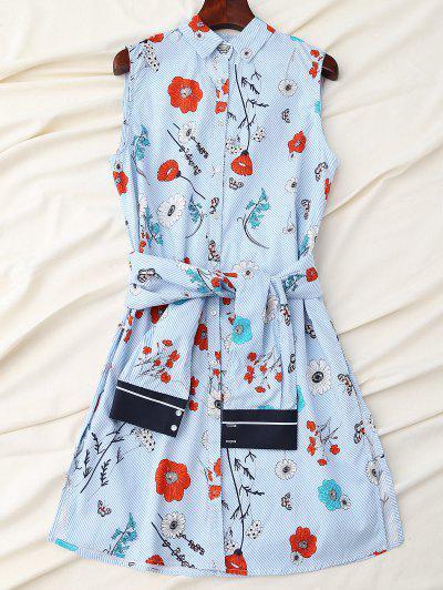 Vestido Floral De La Camisa Rayada Con La Correa De La Manga - Azul L