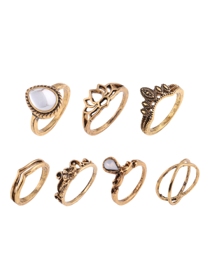 Set de anillos gitanos de flores de hoja de lágrima