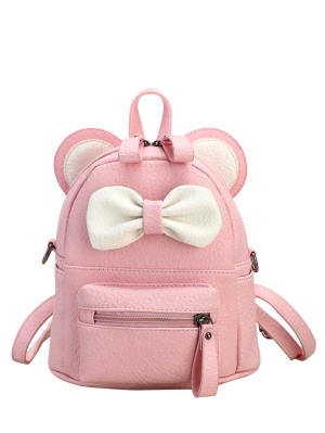 Faux Leather Bowknot Ear Backpack