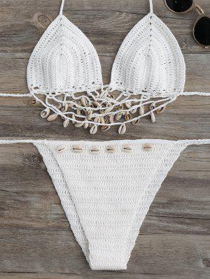 Juego De Bikini De Encaje Con Crochet - Blanco