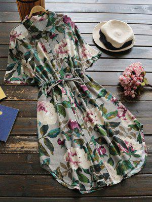 Button Up Floral Drawstring Waist Linen Dress