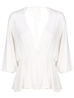 Plunge Neck Dolman Sleeve Shirred Blouse - White S